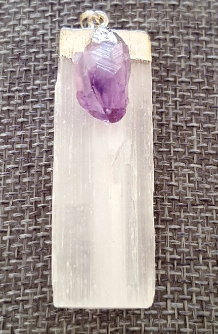 Selenite  with Raw Amethyst Pendant