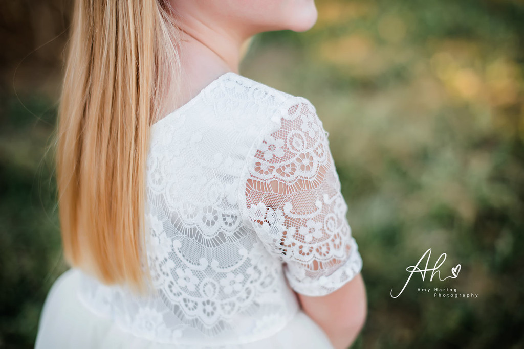 White Lace and Tulle Overlay Dress