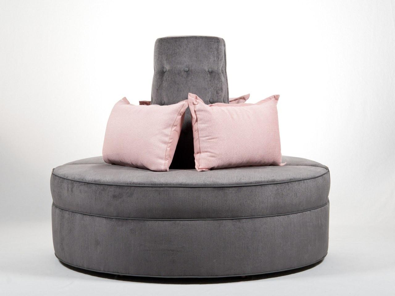 Attractive Round Banquette Settee Lobby Sofa In Gray Chenille Fabric