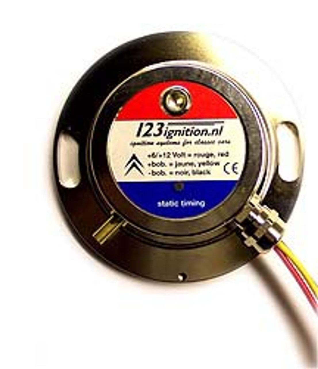 for 2CV4, 2CV6, DYANE, AMI, Mehari The 123\EVO is designed to work in conjunction with the stock ( black! ) coil, OR the ( brown ) VISA-coil.   It detects automatically which coil is connected and adjusts the dwell-timing accordingly.