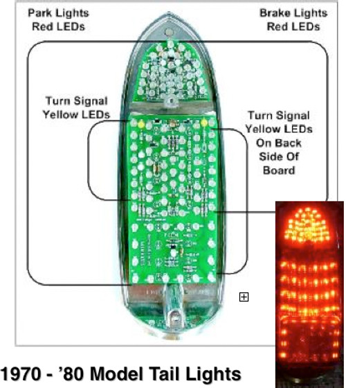 LED Tail lights 70-80 MGB Negative Ground 10 yr warranty