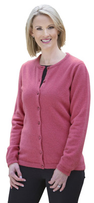 Raspberry Ladies Possum Button Plain Cardigan by Native World