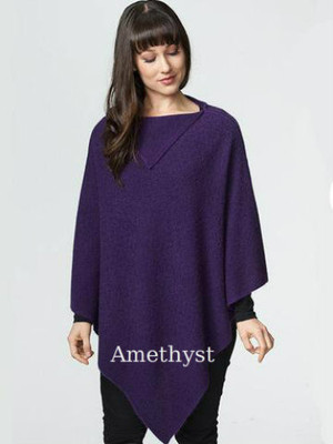 Amethyst Purple Possum Merino Wool Luxury Long Poncho