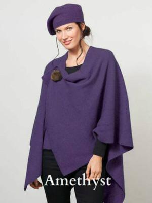 Amethyst Purple Possum Merino Wool Cocoon Wrap with Removable Brooch by possumdown