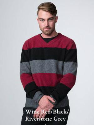 Wine Red/Black/Riverstone Grey Possum Merino Wool Grey Block Stripe Jumper by possumdown