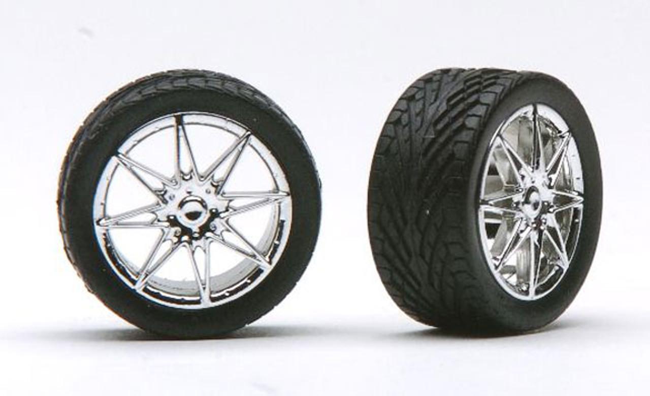 Diamante's Chrome Wheels & Tires (2 pair) 1/24