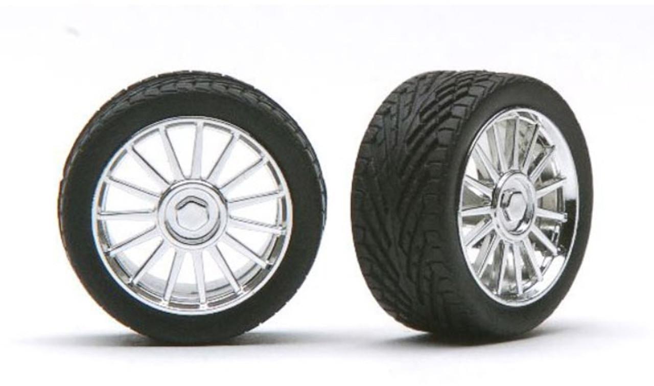 Spider Chrome Wheels & Tires (2 pair) 1/24-1/25