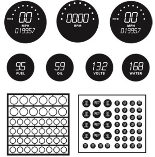 Gauges Digital Black Faces with Bezels 1/25