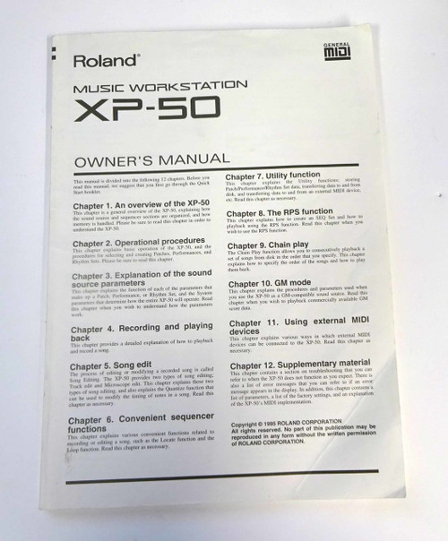 Roland XP-50 Owner Manual & Quick Start Guide