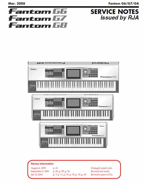 Roland Fantom G Series Service Manual (Very hard to find)