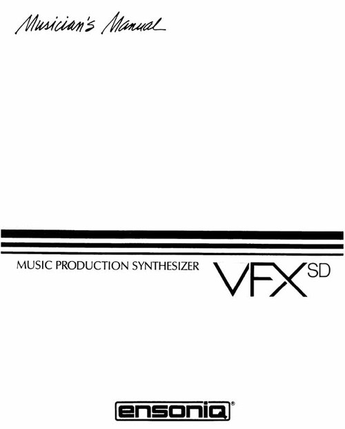 Ensoniq VFXsd Musicians Manual