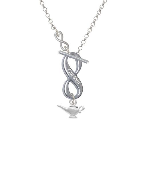 Aladdinu0027s Lamp To Infinity Custom Engraved Toggle Necklace