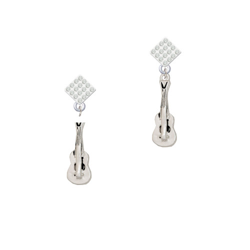 Guitar White Clear Crystal Diamond-Shape Earrings