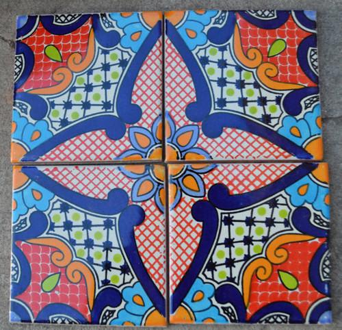 Talavera Tiles Handmade X Terracota Talavera Salvador - 4 inch mexican tile
