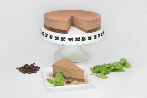 "Whole 9"" Peppermint Mocha Vegan ""Cheese""cake Slice"
