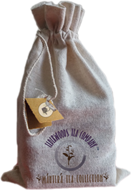 Elderwoods Tea Company, Mantera Tea Collection blends; 4 blends packaged in linen bag  Tea blends come in a food-grade, collectible tin.