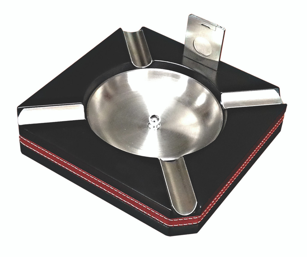 Black Leather Trim Ashtray w/Cutter