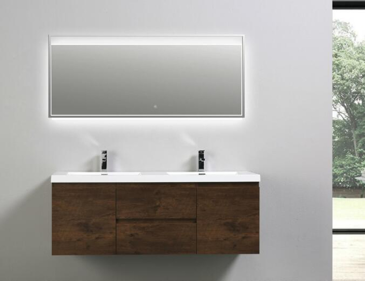 MORENO MOB DOUBLE SINK ROSEWOOD WALL MOUNTED MODERN BATHROOM - Bathroom vanity stores in los angeles