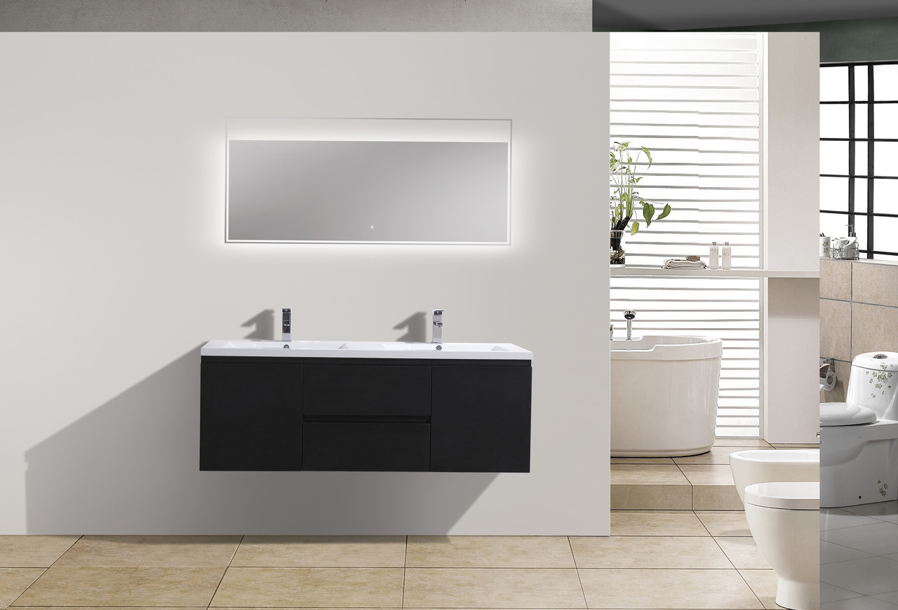MORENO MOB DOUBLE SINK BLACK WALL MOUNTED MODERN BATHROOM VANITY - Bathroom vanity stores in los angeles