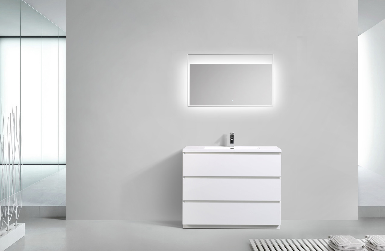 MOA 42″ GLOSS WHITE MODERN BATHROOM VANITY W/ 3 DRAWERS AND ACRYLIC ...