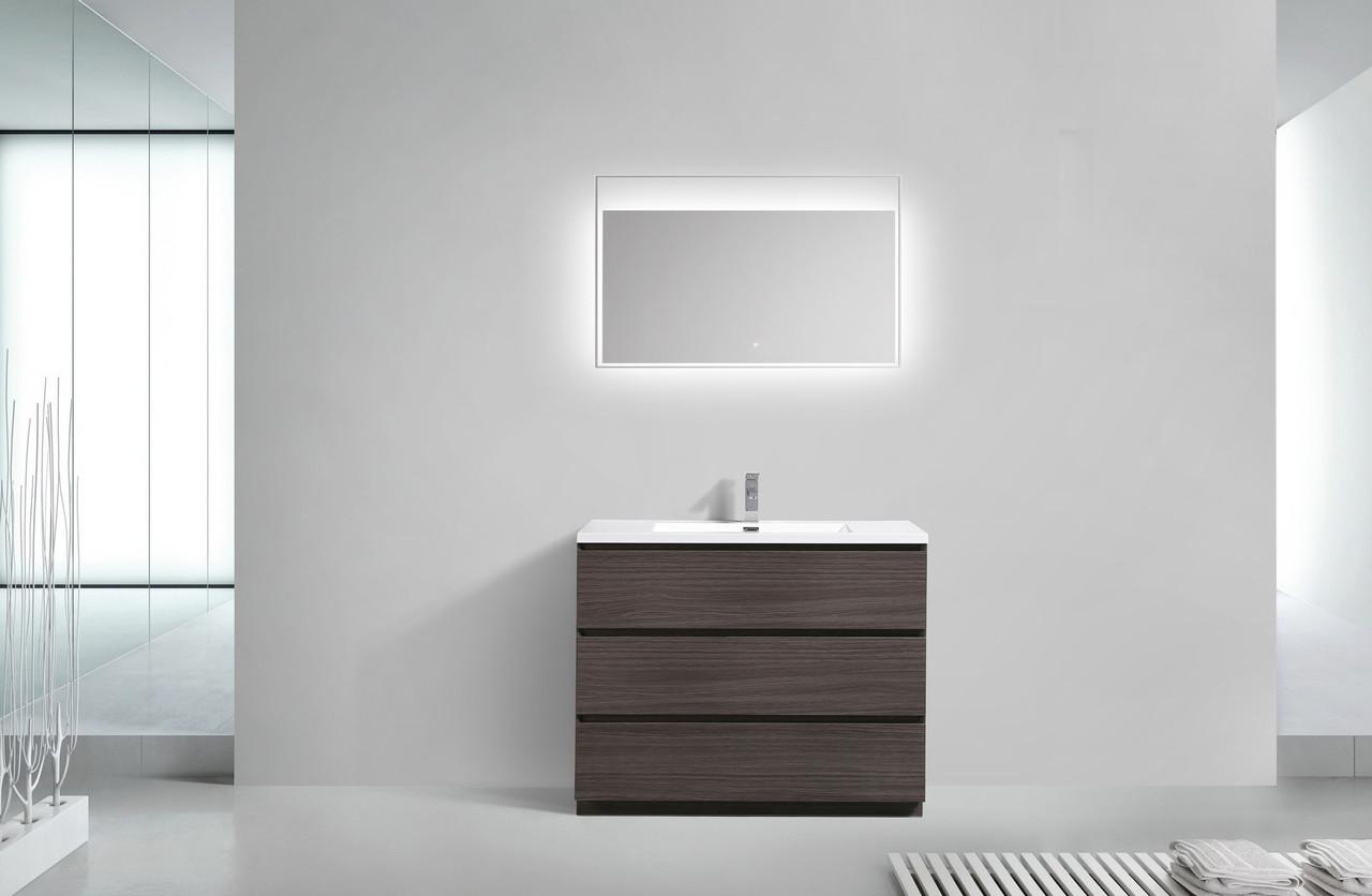 MOA DARK GREYOAK MODERN BATHROOM VANITY W DRAWERS AND - Modern bathroom los angeles