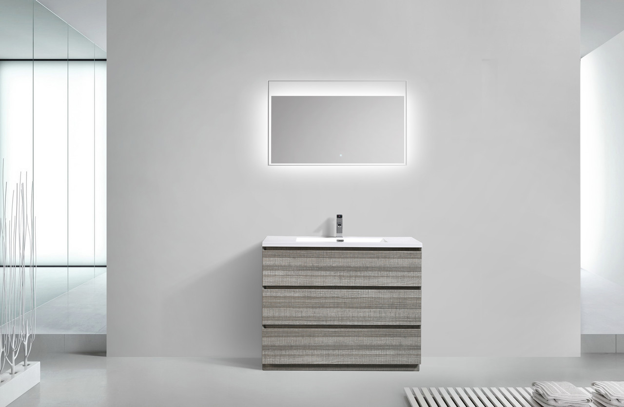MOA ASHGRAY MODERN BATHROOM VANITY W DRAWERS AND ACRYLIC - 42 gray bathroom vanity