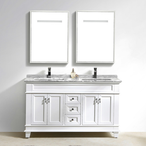 "Moreno Fayer 60"" Double Sink White Bathroom Vanity With Carrara Marble Top"