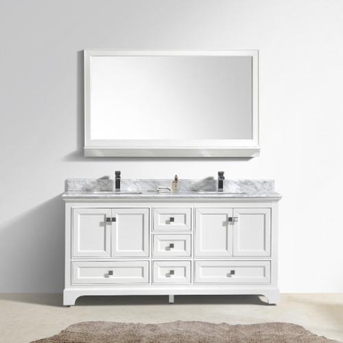 Moreno Fayer Double Sink White Bathroom Vanity With Carrara - White bathroom vanity with gray top