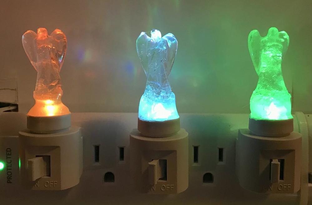 Clear Quartz Angel Colored Light