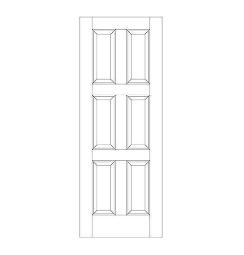 6-Panel Wood Door (DR6010)