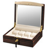 VOLTA EBONY WOOD 8 WATCH CASE WITH GOLD ACCENTS AND CREAM LEATHER INTERIOR AND SEE THROUGH TOP