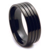 Titanium Band - Black with Grooves
