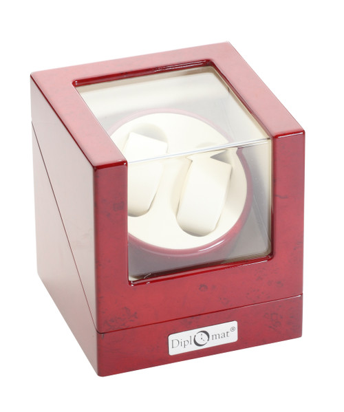 Double Watch Winder | Diplomat Estate Cherry Wood Finish Double Watch Winder