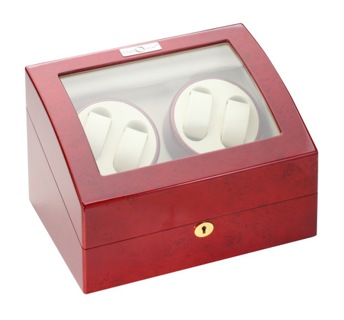 Quad Watch Winder | Diplomat Estate Cherry Wood Finish