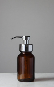 Amber Apothecary Glass Foam Soap Dispenser with Chrome Pump