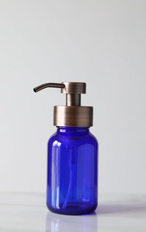 Blue Apothecary Glass Foaming Soap Dispenser with Copper Pump