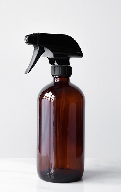 Amber Glass Cleaner Bottle with Black Spray Nozzle