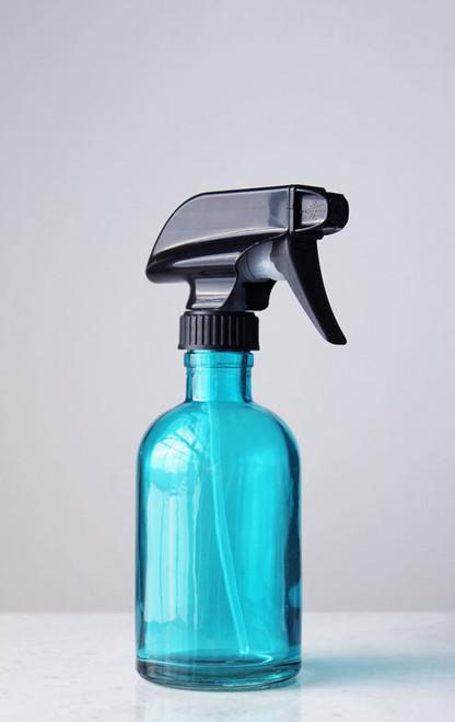 Beach Blue Glass Spray Bottle w/ Black Spray Nozzle