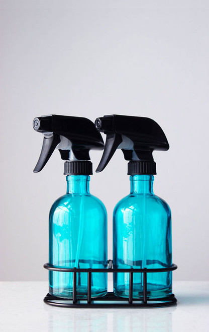 Perfect Pair Beach Blue Glass Spray Bottle w/ Black Spray Nozzle + Stand