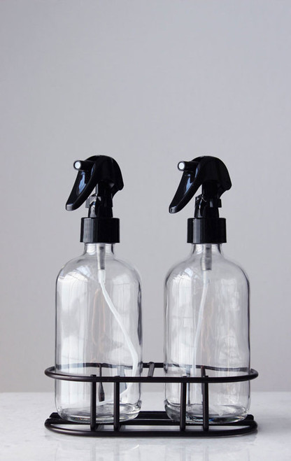 Apothecary Glass Mist Spray Bottle Set with Black Mist Nozzle + Stand