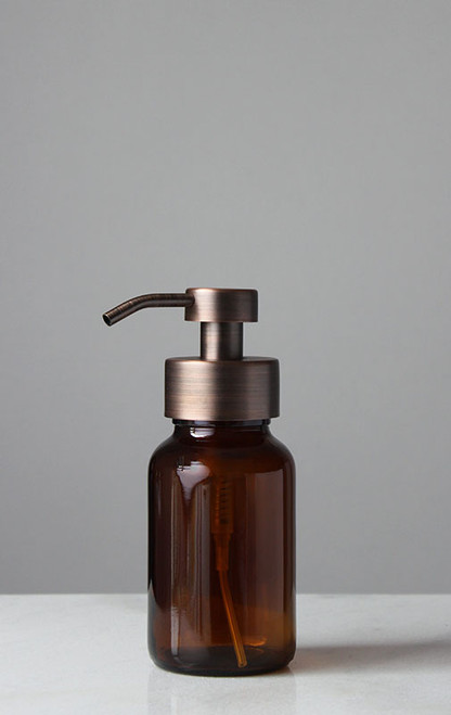 Amber Apothecary Glass Foam Soap Dispenser with Copper Pump