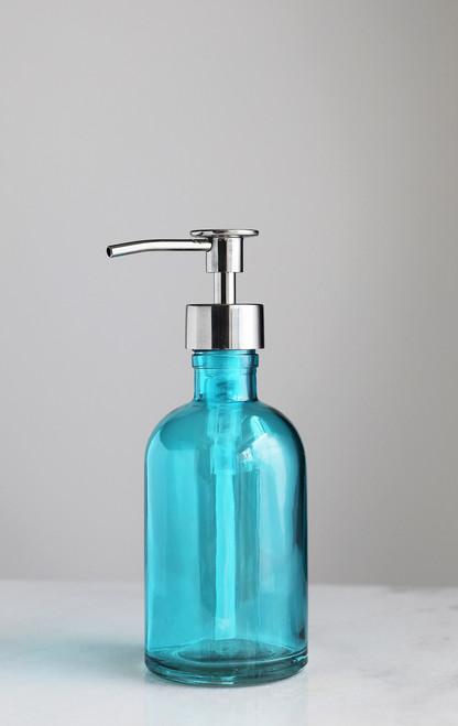 Beach Blue Glass Lotion Soap Dispenser with Metal Pump