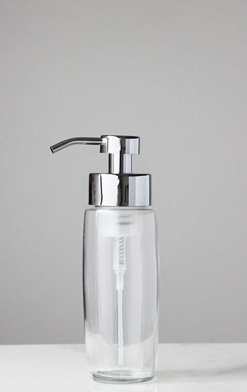 Large Glass Foam Soap Dispenser With Chrome Pump Amazing Design