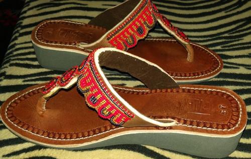 Beaded wedged sandal