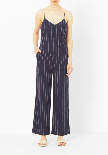 Ganni Navy Wide Leg Jumpsuit