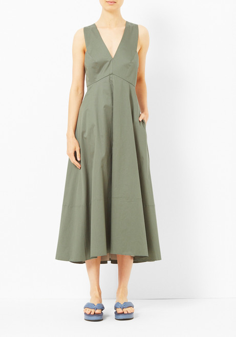 Tibi Cross Back Denali Green Dress