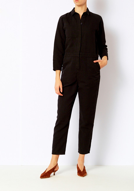 You Must Create Black Washed Canvas Jumpsuit