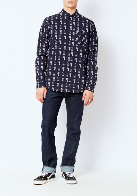 DDUGOFF Embroidered Henry Button Down