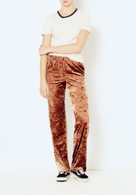 Tibi Rust Stretch Velvet Pant