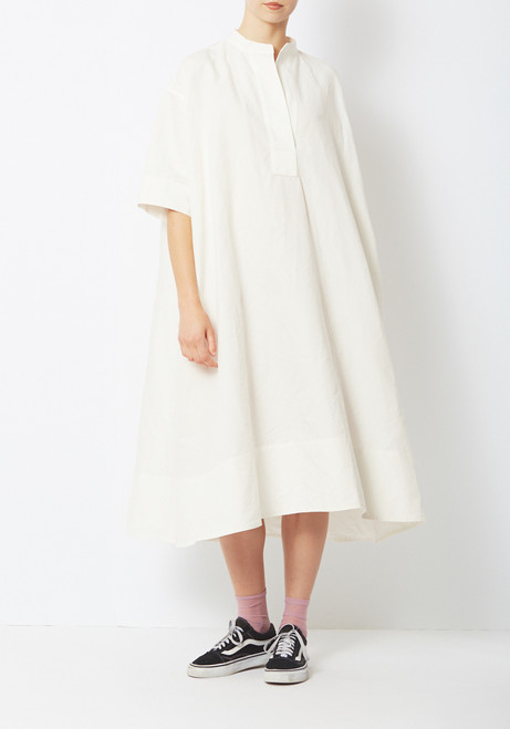 Creatures of Comfort Byron Dress- White Cotton Ripstop